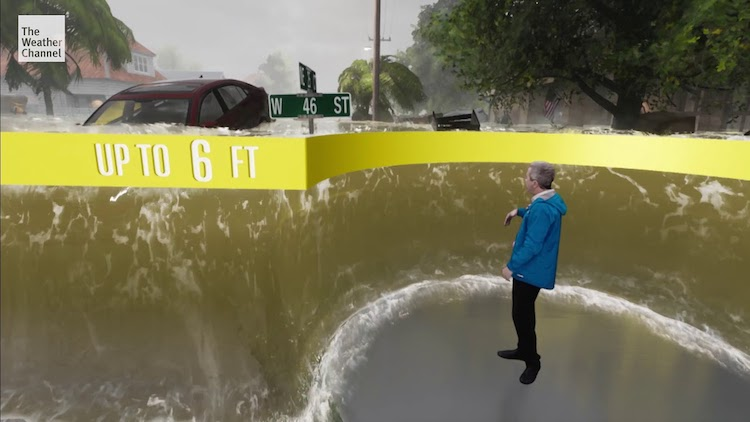 A Brilliant Immersive Virtual Reality Demonstration of What Storm Surges Look Like at Different Heights