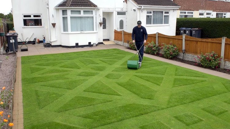 Dedicated Groundsman Cuts His Grass Three Times Per Day to Create an Intricate Pattern on His Lawn