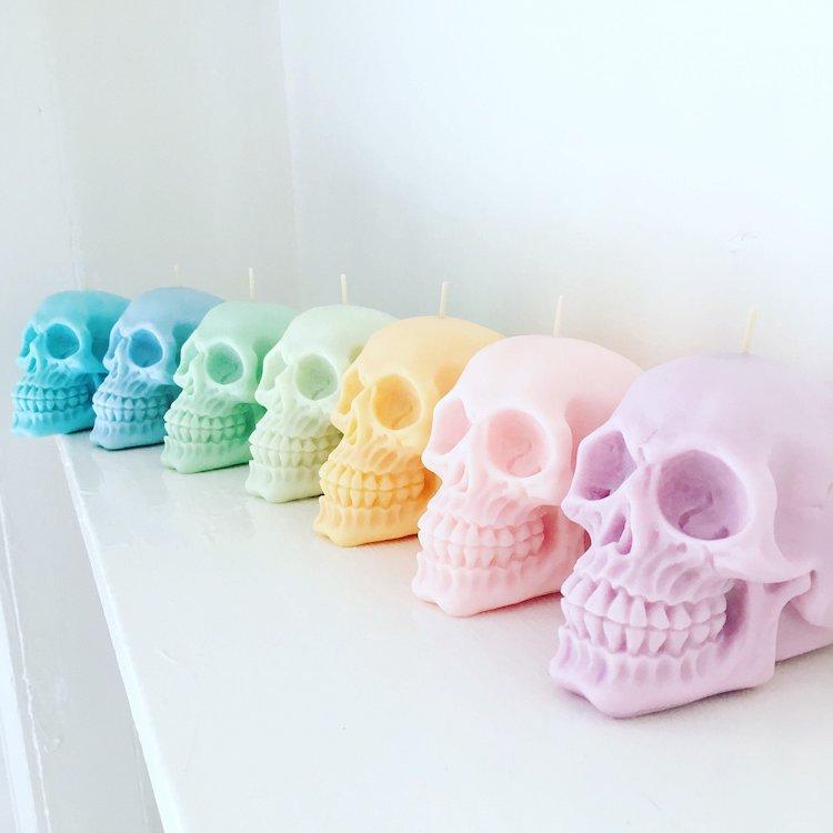Wonderfully Paradoxical Pastel Colored Skull Candles