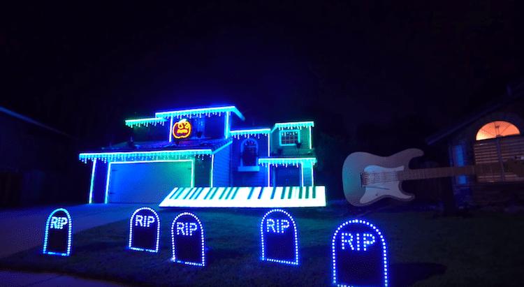 Halloween Home Light Show Michael Jackson Tom BetGeorge