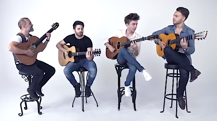 International Quartet of Talented Guitarists Perform an Incredible Acoustic Cover of AC/DC's 'Thunderstruck'