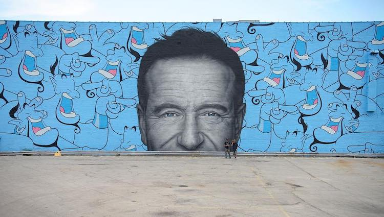 Two Talented Artists Create a Giant Robin Williams Mural on the Side of the Concord Music Hall in Chicago