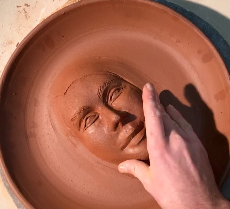 Sculpting Faces into Clay Plates - Seattle Clay Artist Sculpts Extremely Reasonable Faces Into Beautiful Items of Hand Thrown Pottery