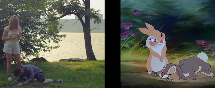 A Shot-by-Shot Recreation of Thumper's 'Twitterpated' Scene From 'Bambi' Performed Faithfully by Humans