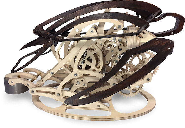 An Exquisite Wooden Kinetic Sculpture That Mimics the Graceful Movements of a Swimming Sea Turtle