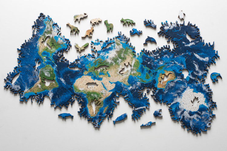 A Borderless Infinity Puzzle of Earth With Pieces Shaped ...