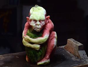 Gollum Watermelon Carving Valeriano Fatica