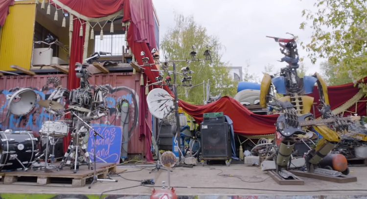 Amazing Anthropomorphic Robots Made of Recycled Metal That Play Real Instruments in a Punk Rock Band