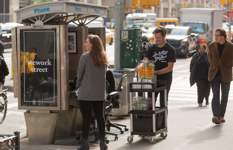WeWork Street coffee cart