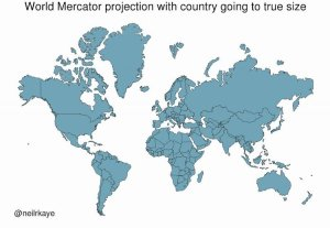World Mercator Projection With World Going to True Size