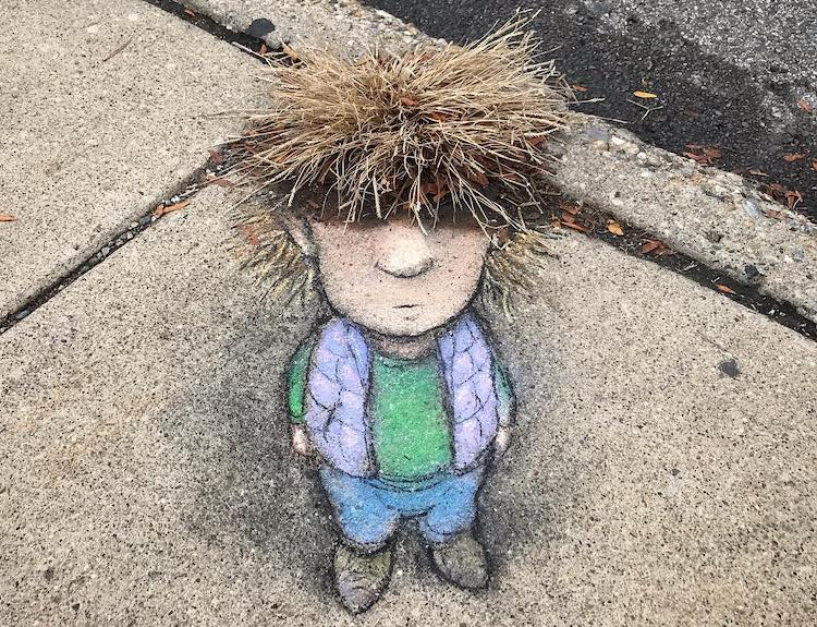David Zinn Sidewalk Chalk Character Haircut