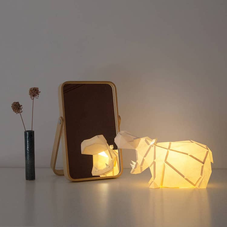 Hippo Papercraft Lamp