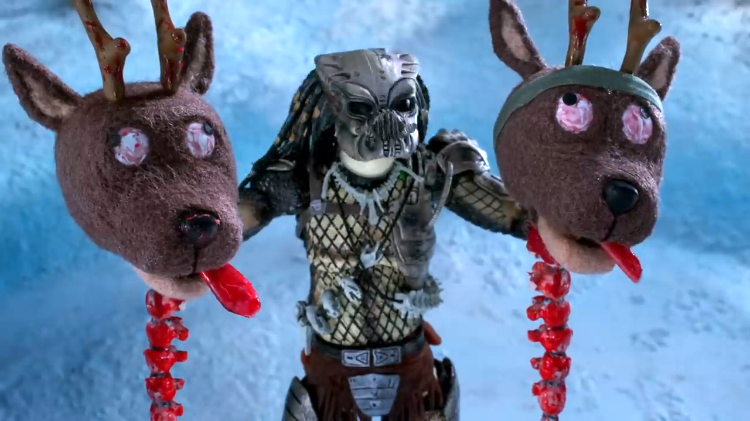 The Predator Battles Santa Claus and His Well-Armed Reindeer in a Gory Stop Motion Animation