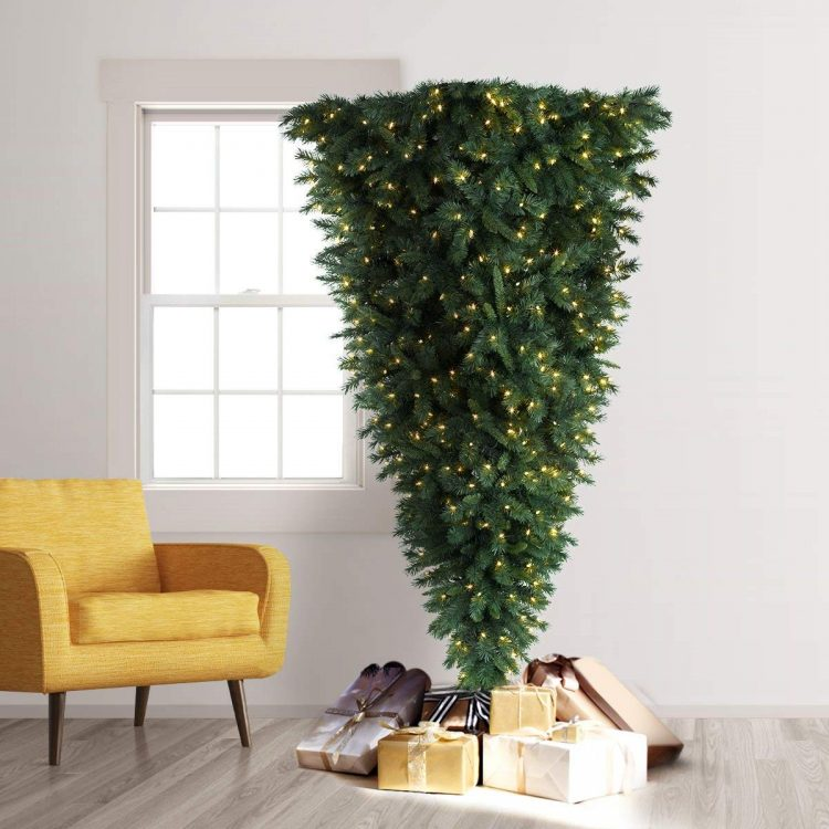 Upside Down Trimmed Tree With Gifts