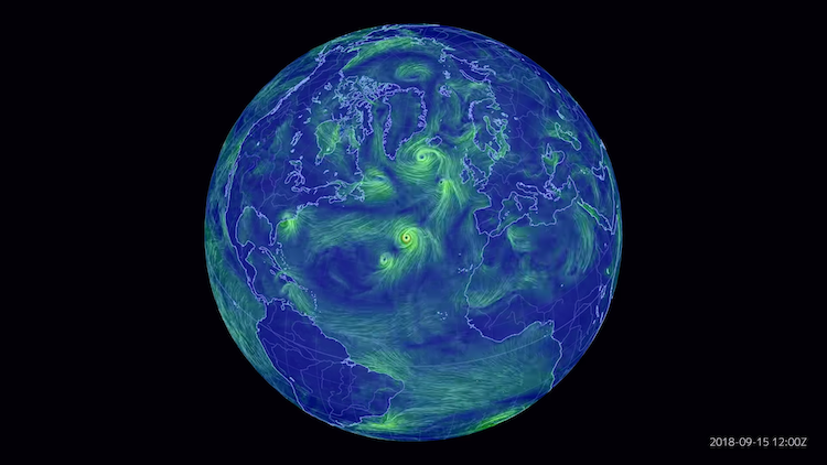 [4K] 2018_ full, one year time lapse of surface winds over the North Atlantic