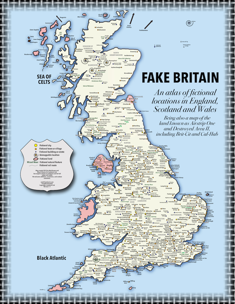 Large Detailed Map Of England.A Clever Map Of Great Britain That Plots Fictional Locations From