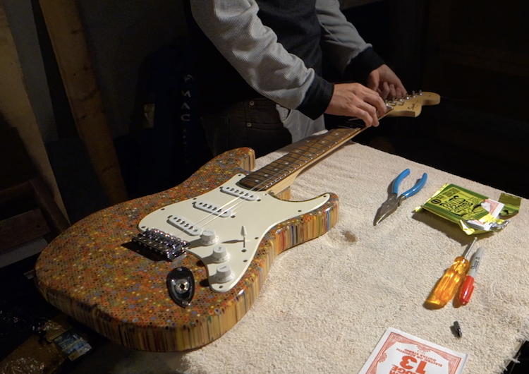 Finishing Touches on Colored Pencil Electric Guitar