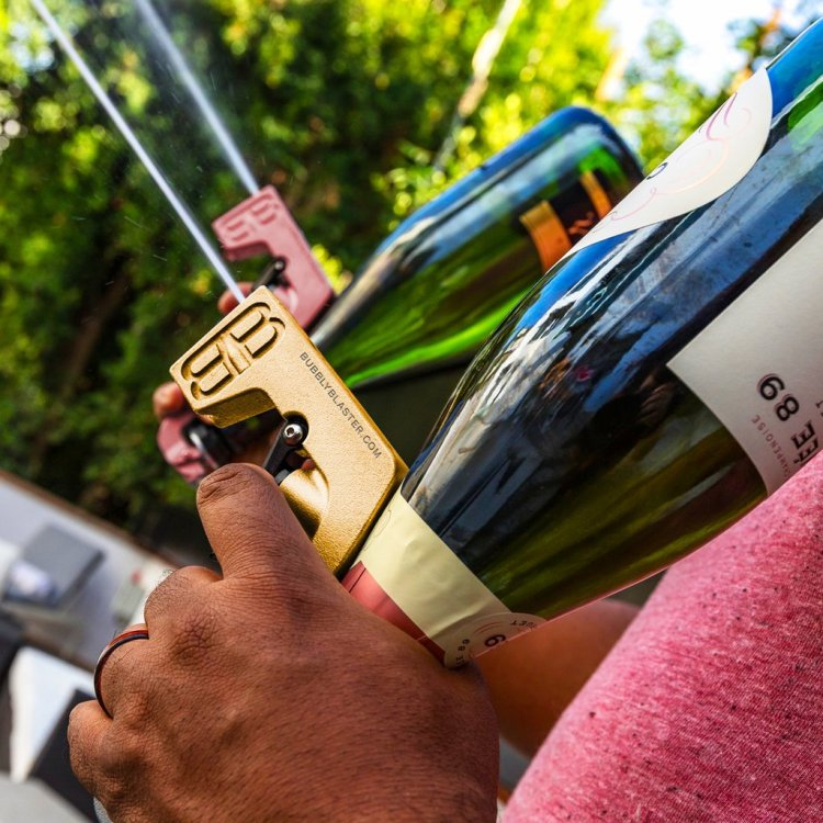Bubbly Blaster, An Amusing Device That Turns an Upside Down Bottle of  Champagne Into a Spray Gun
