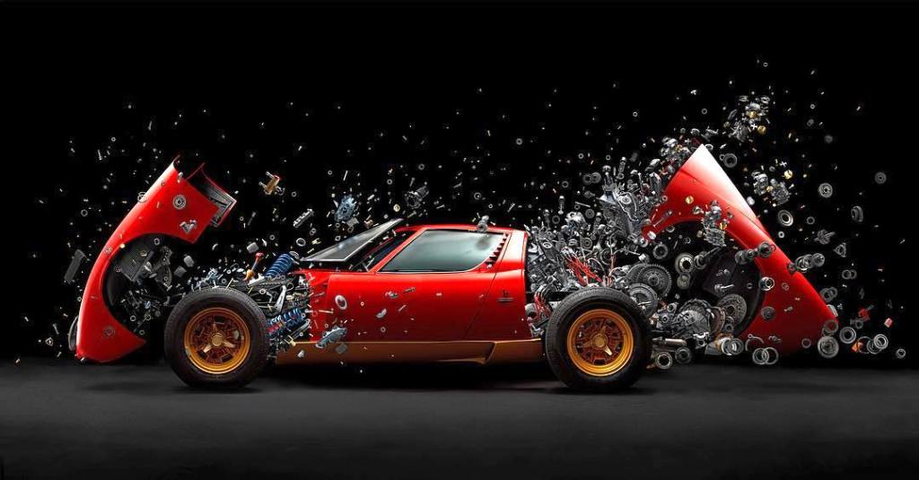 Disintegrating Lamborghini Miura by Fabian Oefner