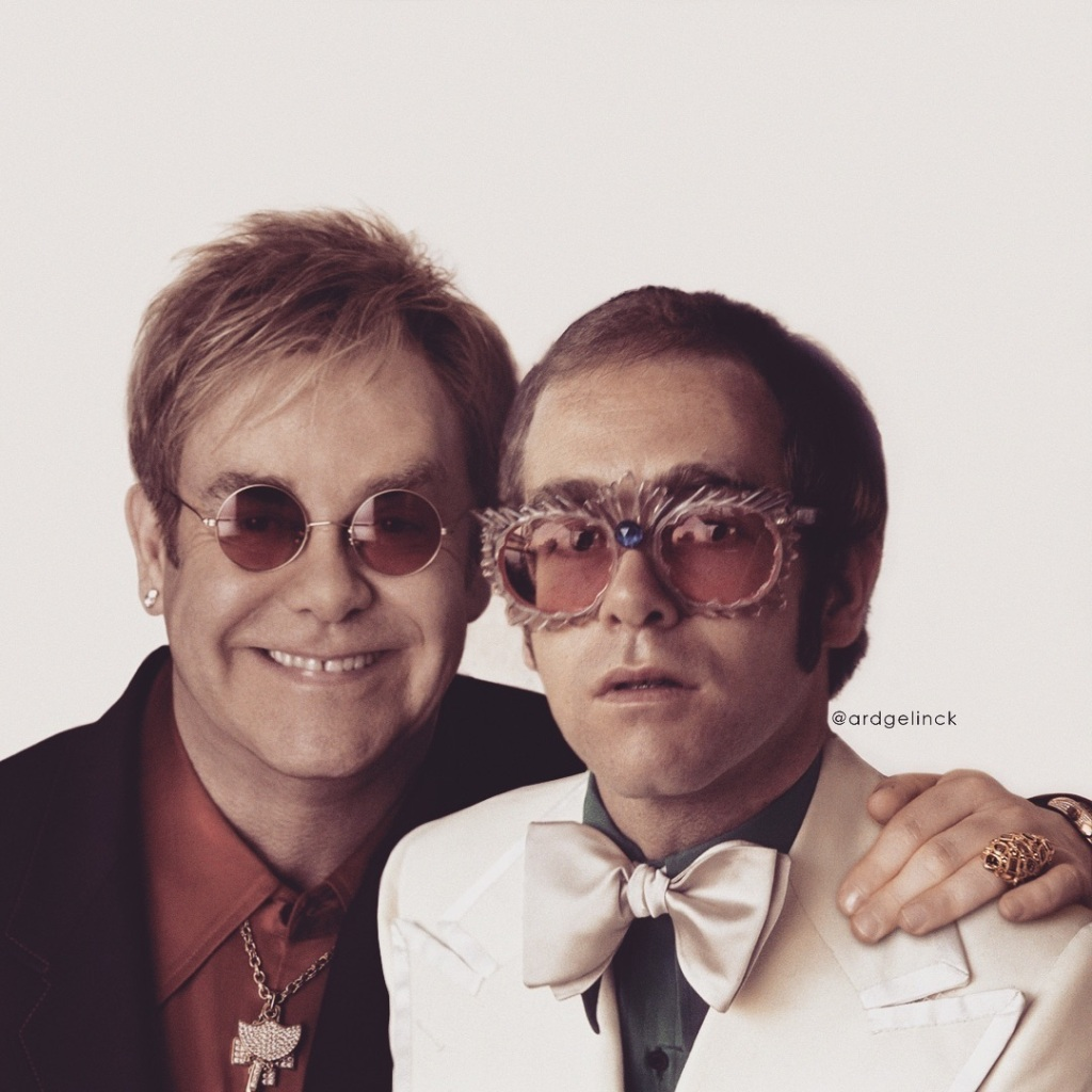 Elton John Posing With Younger Self Ard Gelnick