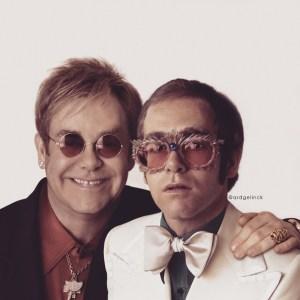 Elton John Posing With Younger Self Ard Gelnick