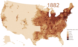 Animated map of population density in the U.S. (1790 – 2010)