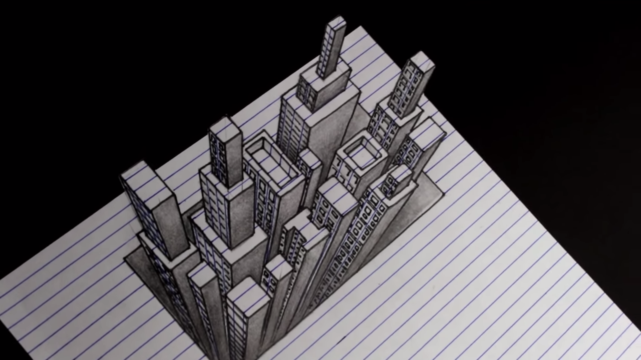 A hypnotic video showing how to draw an anamorphic 3d skyline using simple lines and squares