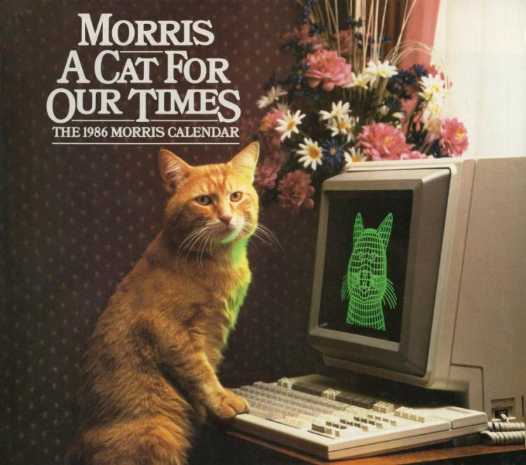 1986 Calendar Featuring Morris the Cat Making Snide Remarks on How Technology Is Changing the World