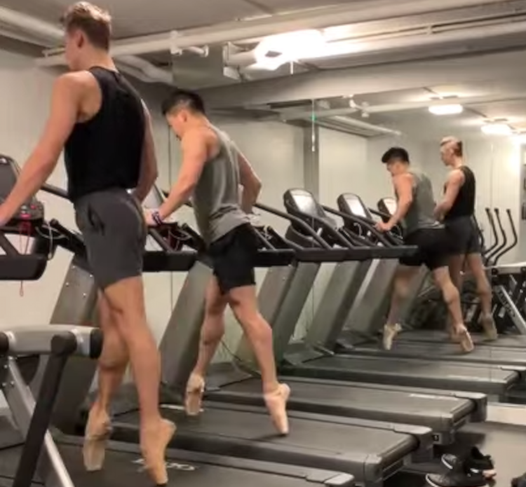 Dancers on Treadmills Gracefully Perform Synchronized En Pointe Ballet Routine While Working Out at the Gym