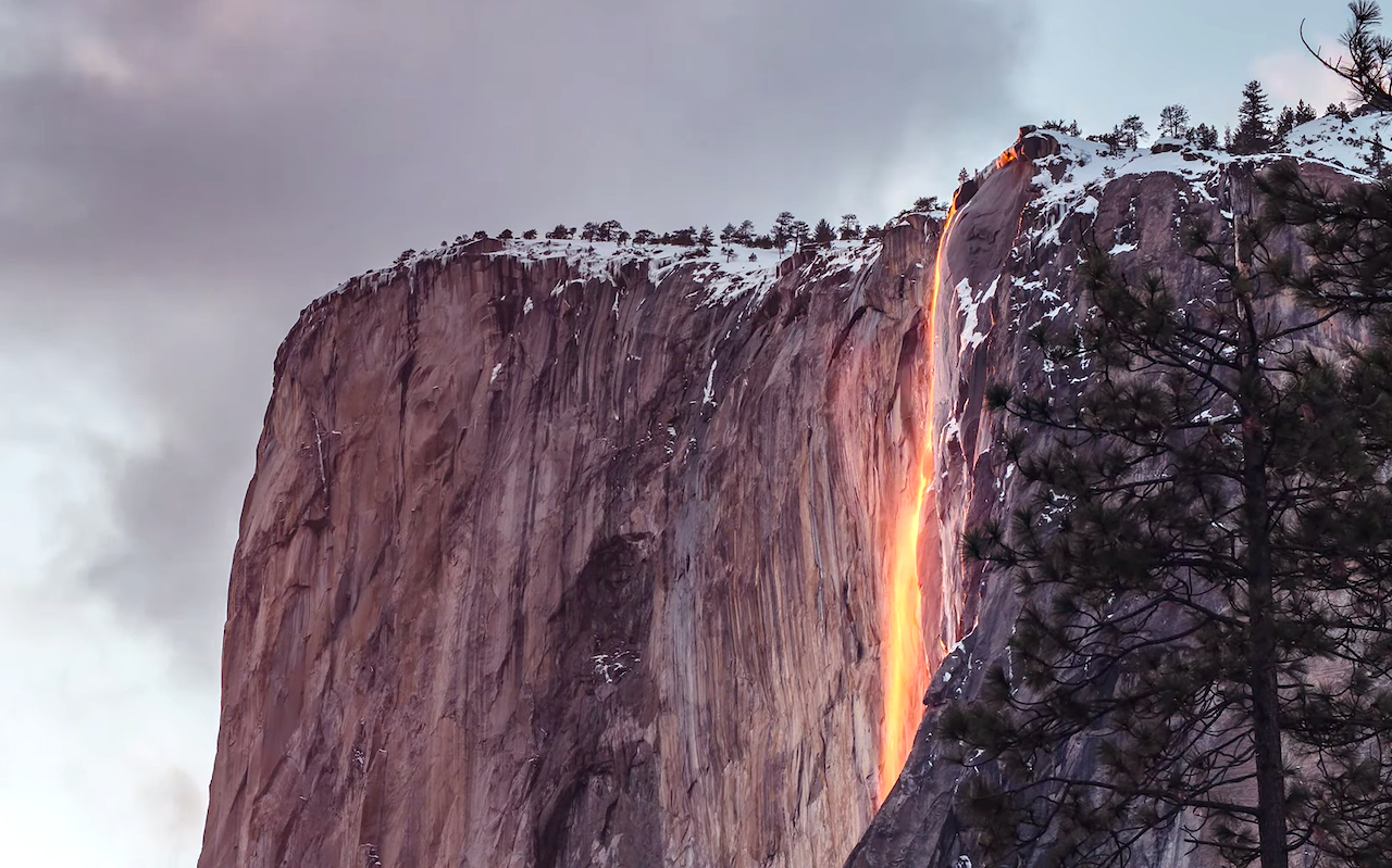 A Stunning Yosemite Park Waterfall That Looks Like Cascading Molten Lava When the Sun Hits It Just Right
