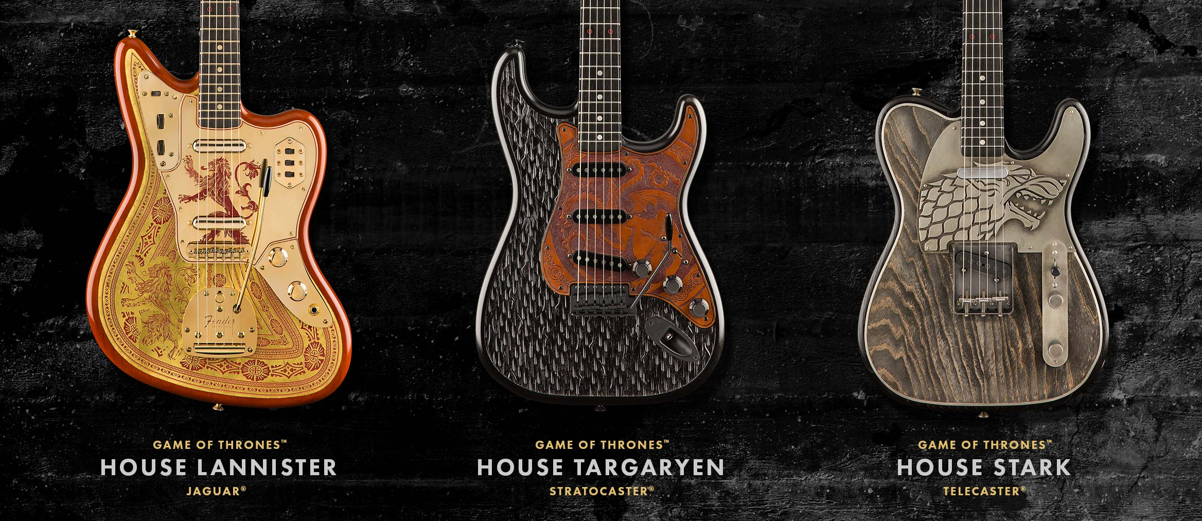Fender Builds Three Custom Games of Thrones Guitars With Sigils From House Stark, Lannister and Targaryen