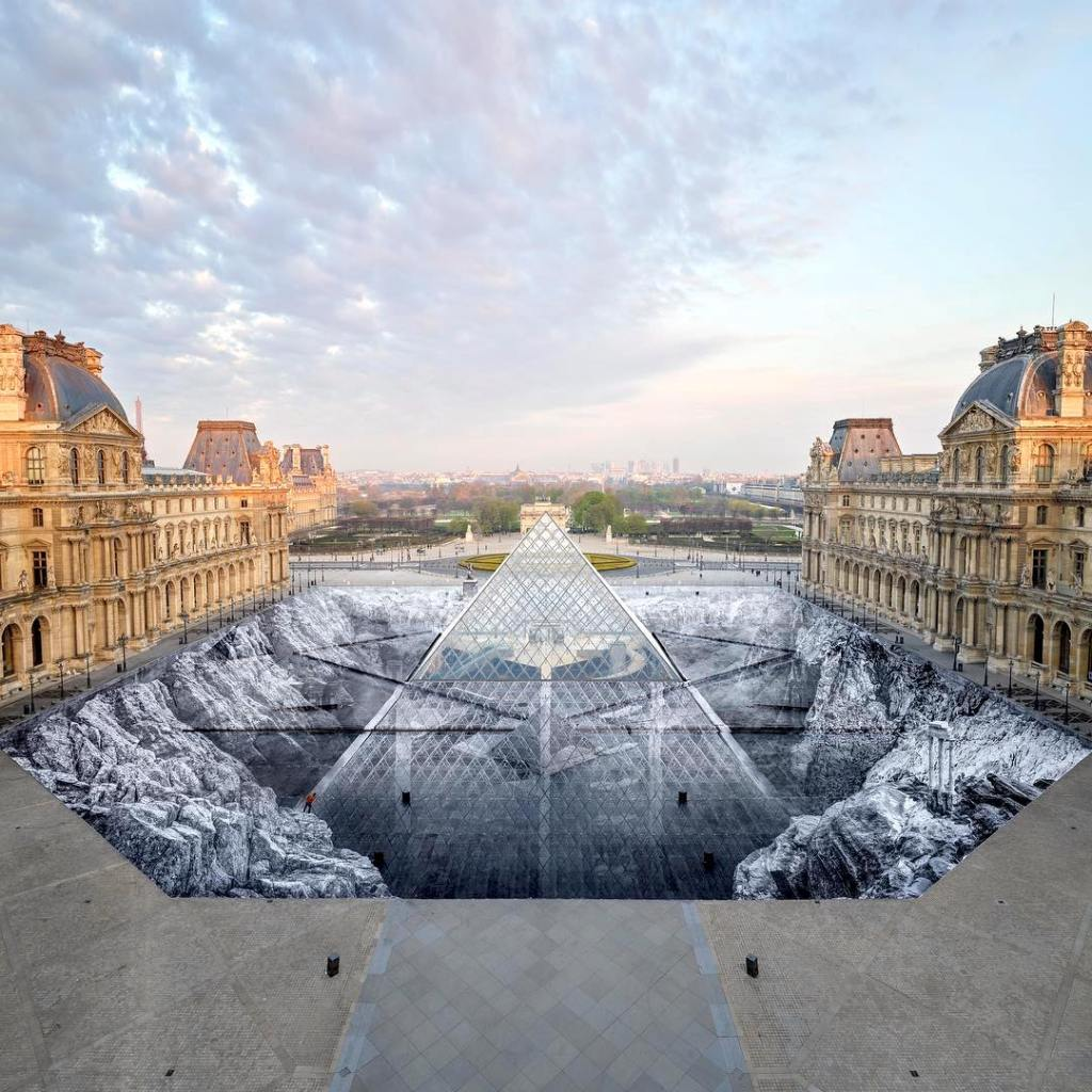 Louvre Pyramid Optical Illusion