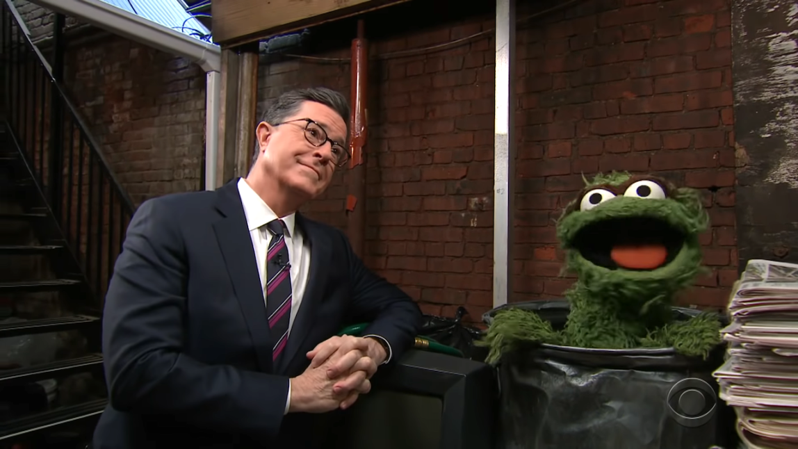 Stephen Colbert and Oscar The Grouch Sing Duet