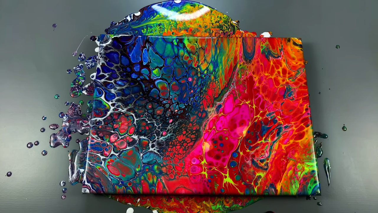 A Flip Cup Fluid Art Tutorial Using 24 Paints Resulting in a Gorgeous Landscape of Cellular Color