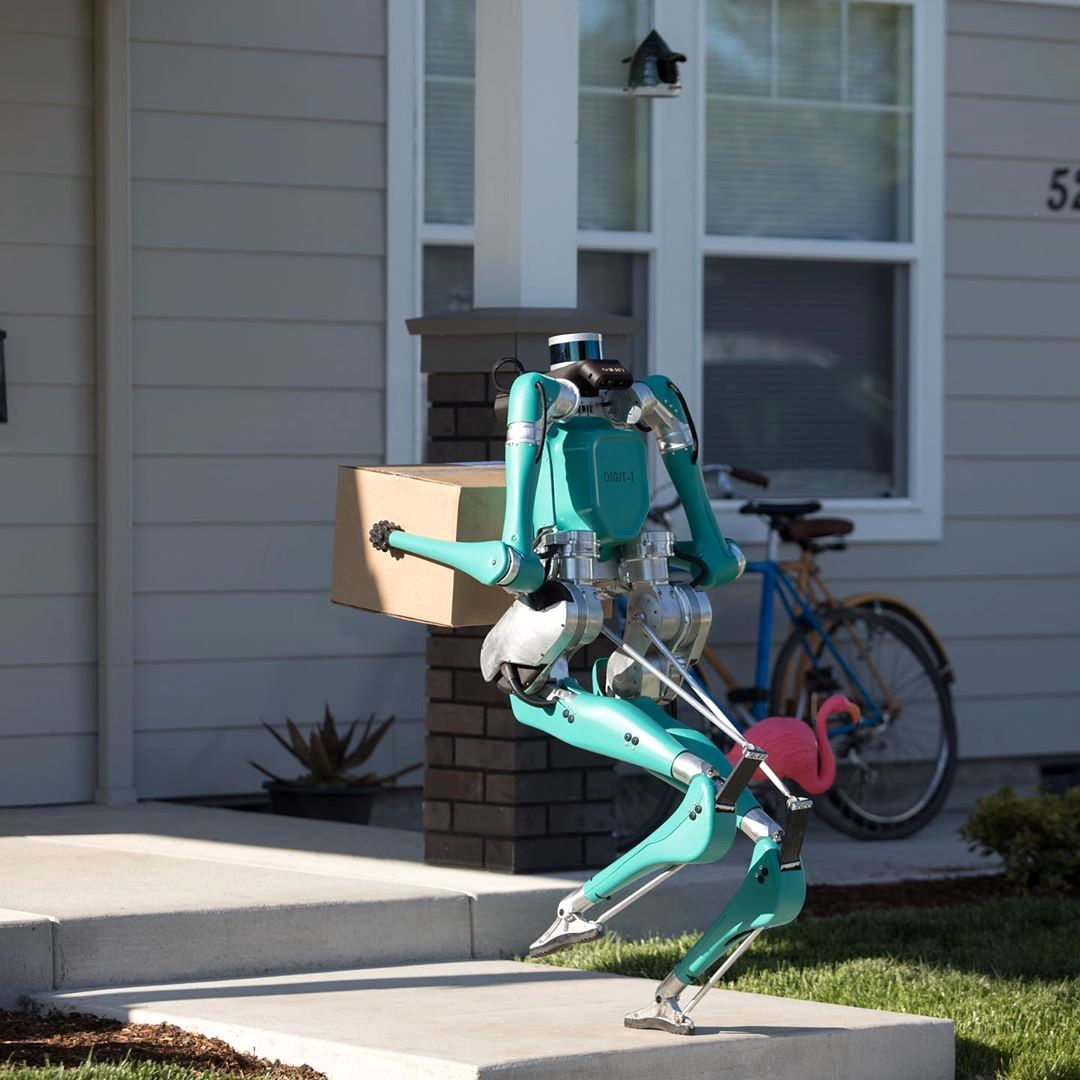 A Bipedal Robot That Makes Front Door Deliveries After Being Transported to the Curb by a Self-Driving Vehicle