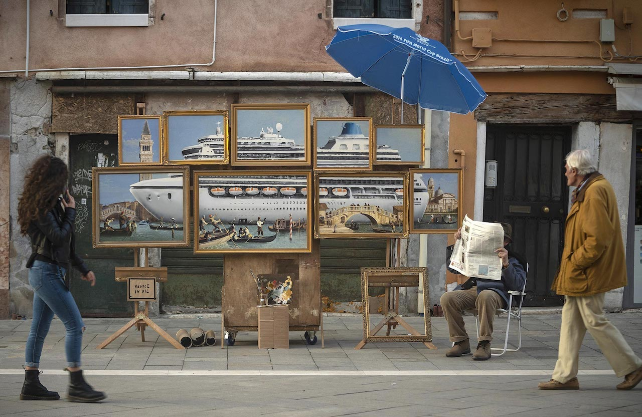 Banksy Sets Up a Street Stall at the Venice Biennale With Art Critical of the Canal's Cruise Ship Problems