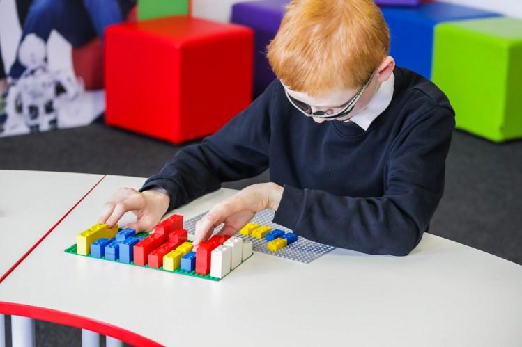 LEGO Braille Bricks at Desk