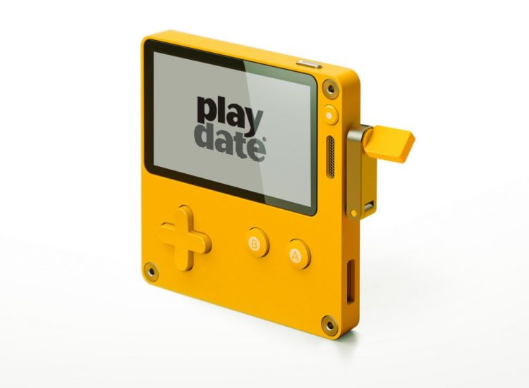 Playdate, A Retro Yellow Crank Controlled Handheld Gaming System With a Black and White Screen