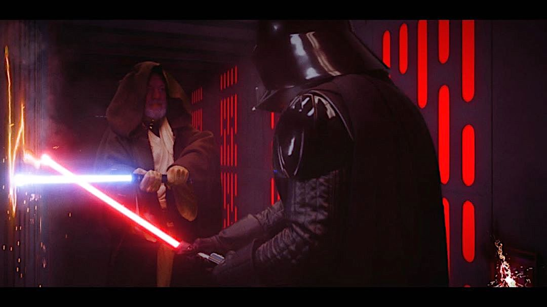 The Legendary Lightsaber Duel Between Darth Vader and Obi-Wan Kenobi Reimagined in a Modern Context
