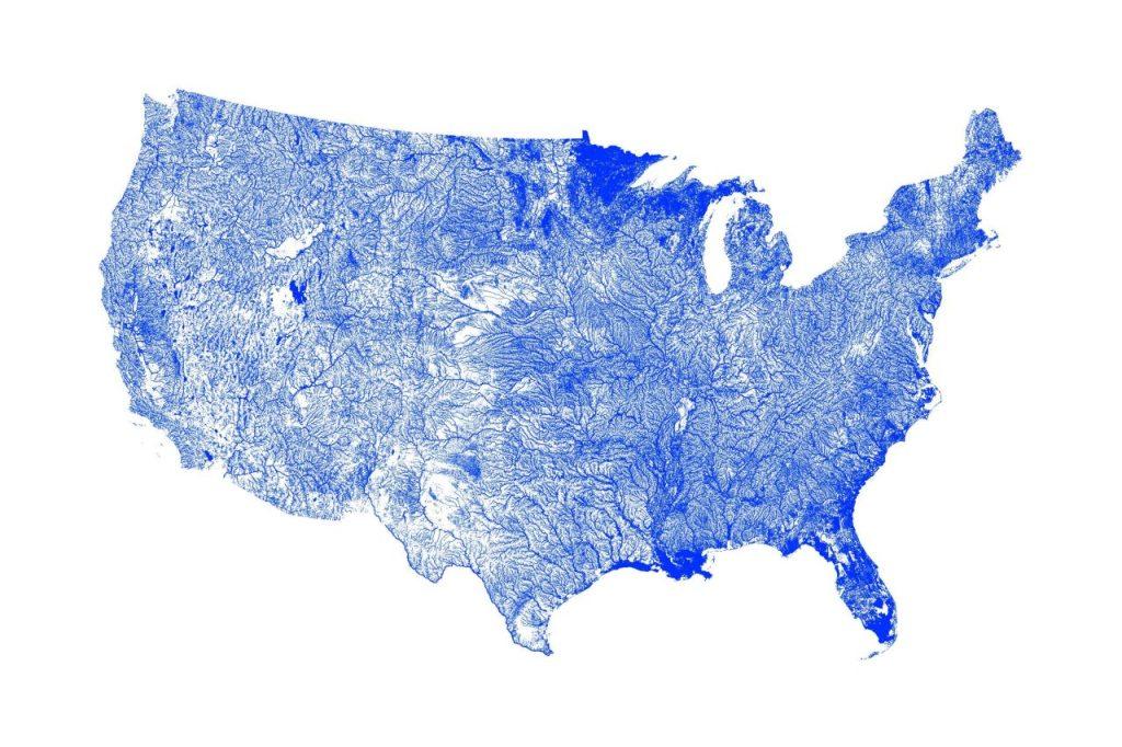 Artful Data Print of US Waterways