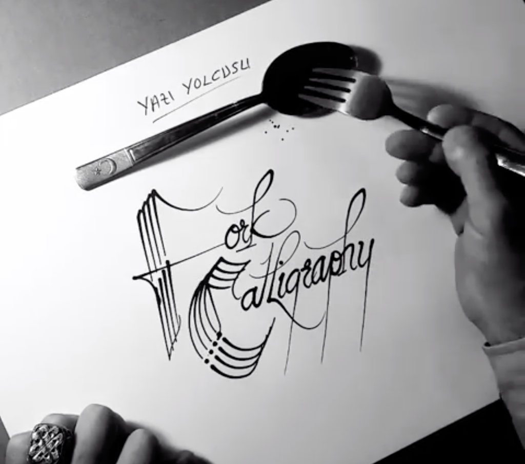 Gorgeous Calligraphy Created With the Tines of a Fork