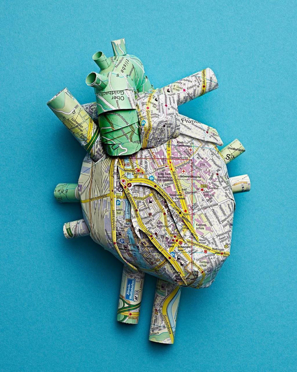 Heart Made Out of Zurich City Maps