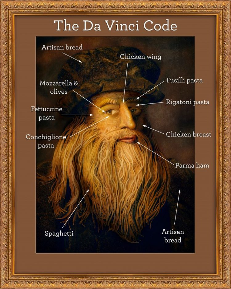 Leonardo Da Vinci Portrait Made From Italian Food Key