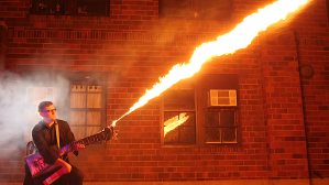 Electric Guitar With Flamethrower from Car Scraps