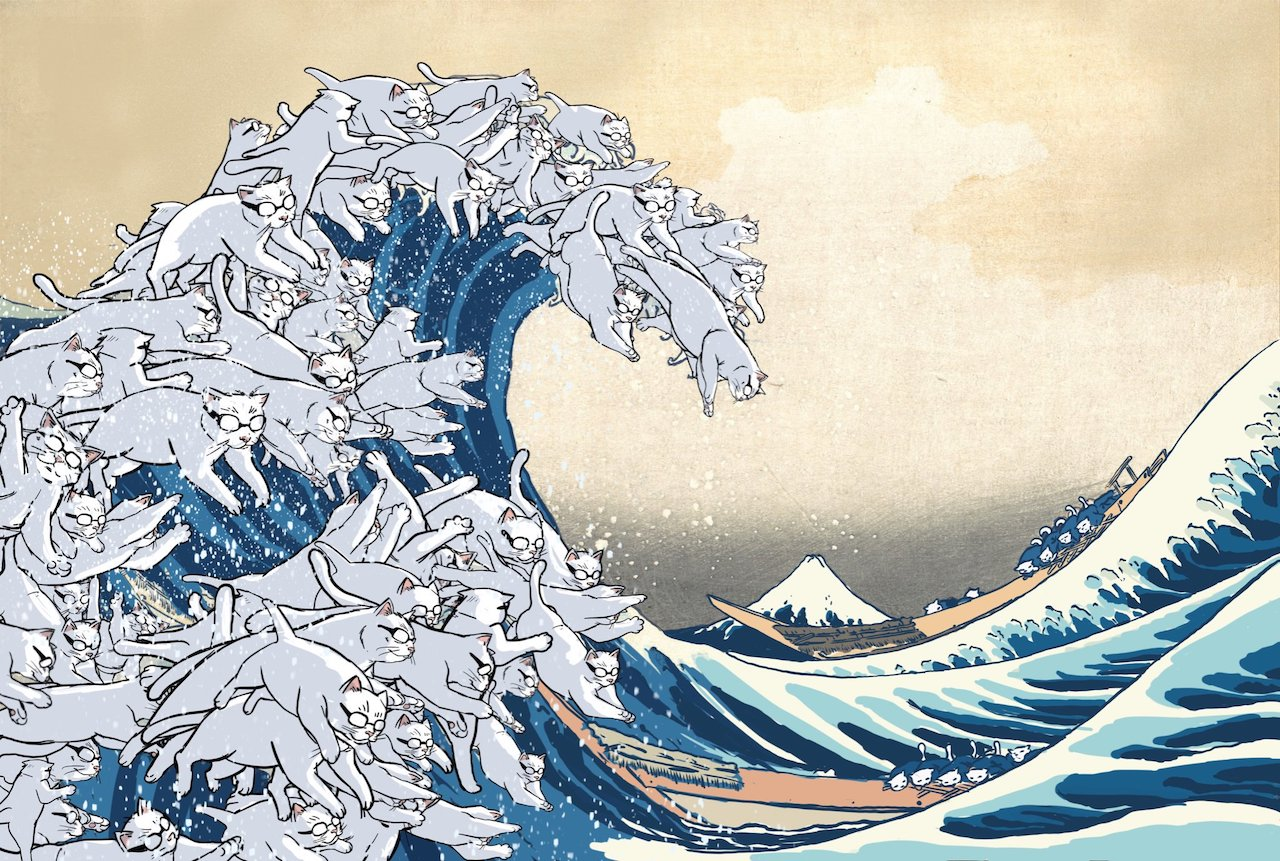 Illustrator Cleverly Reimagines the 'Great Wave Off Kanagawa' by Hokusai With Cats Wearing Glasses