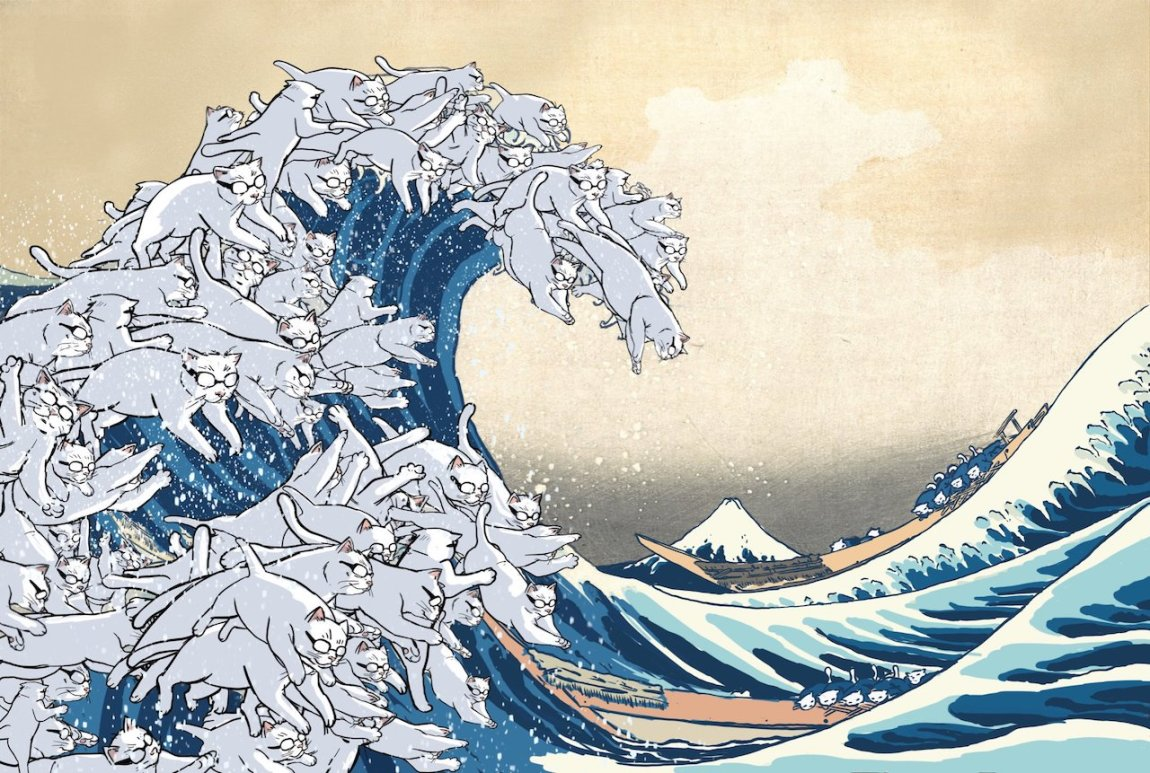 Hokusai Wave With Cats