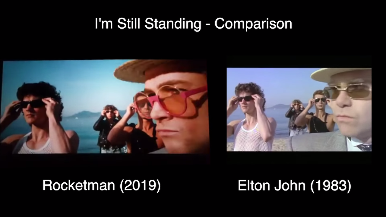 Clever Comparison of Elton John's 'I'm Still Standing' Music Video With the Staged Version From 'Rocketman'