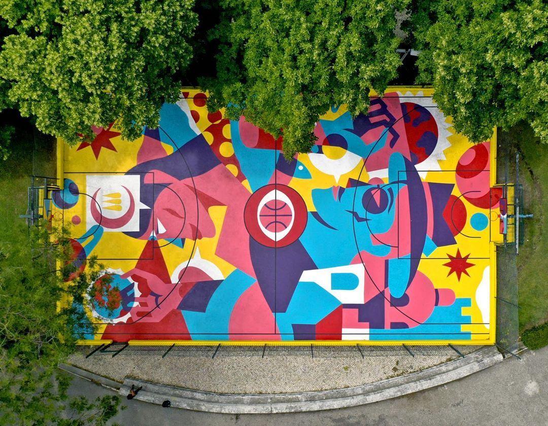 Street Artist AKACORLEONE Transforms a Lisbon Basketball Court Into Beautifully Balanced Public Art