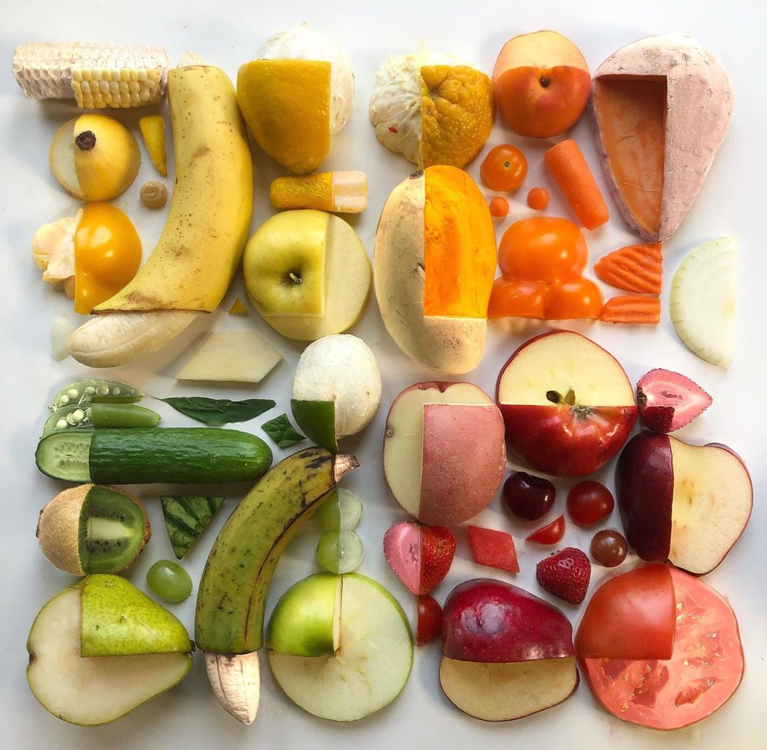 Fruits and Vegetables Arranged Into Colorful Patterns