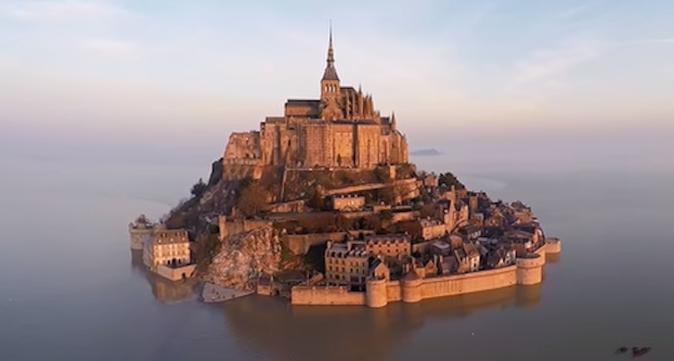 Stunning Drone Footage of Mont-Saint Michel in France Becoming an Island Due to Super High Tides in 2015